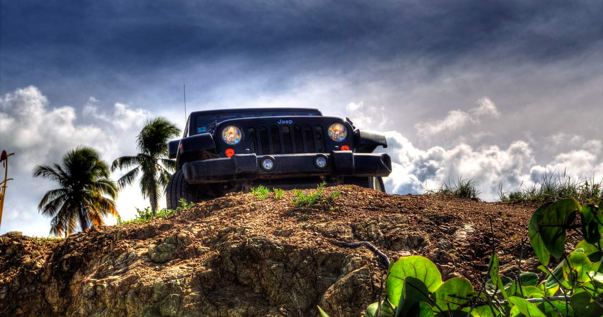 Vieques Jeep Wrangler rental on a cliff
