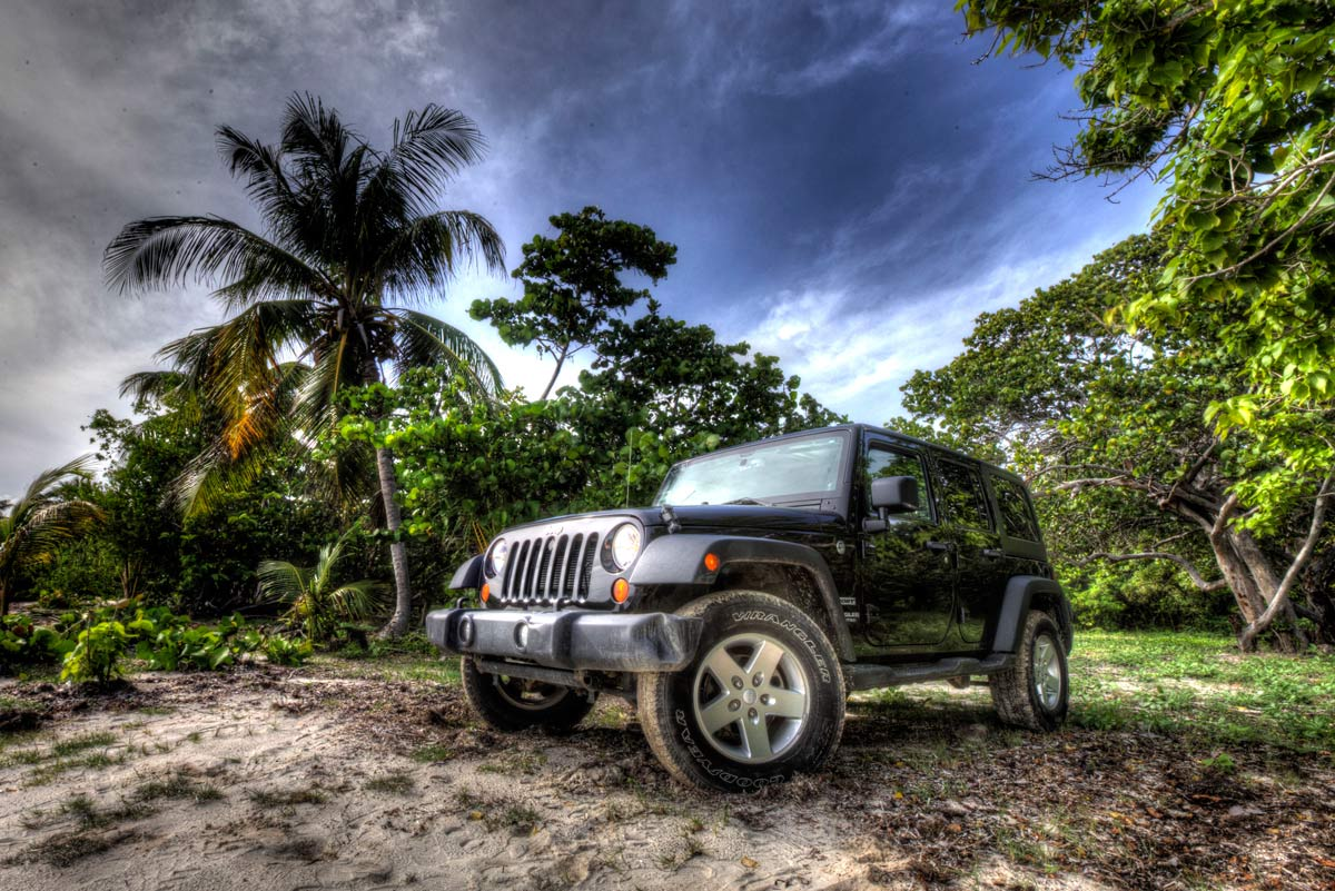 Vieques Jeep Wrangler rental at Media Luna Beach